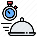 cloche, delivery, fast, food, restaurant, service, time icon