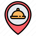 cafe, food, location, pin, placeholder, pointer, restaurant icon