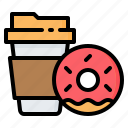 coffee, cup, donut, doughnut, drink, fast, food icon