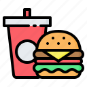burger, cup, fast, food, hamburger, sandwich, soda icon
