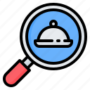 cloche, food, glass, magnifier, magnifying, restaurant, search icon