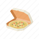 box, delivery, food delivery, pizza, pizza in a box icon