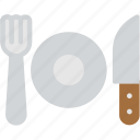 breakfast, cutlery, dinner, fork, knife, plate, restaurant icon