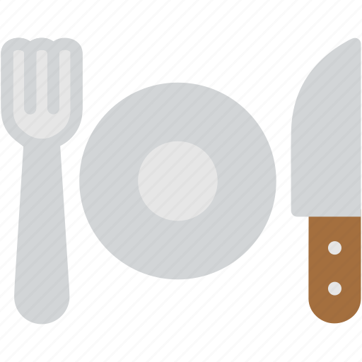 breakfast, cutlery, dinner, fork, knife, plate, restaurant icon