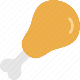chicken, drumstick, leg, meat, piece, roasted icon