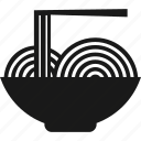 bowl, chopsticks, food, noodles icon