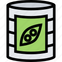 barbecue, canned, cooking, drink, food, kitchen, peas icon