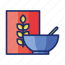 cereal, cereal bowl, oat, oatmeal, wheatl icon