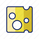 cheese, cheese slice, dairy icon