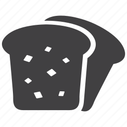 bakery, bread, breakfast, food, kitchen, sliced, toast icon