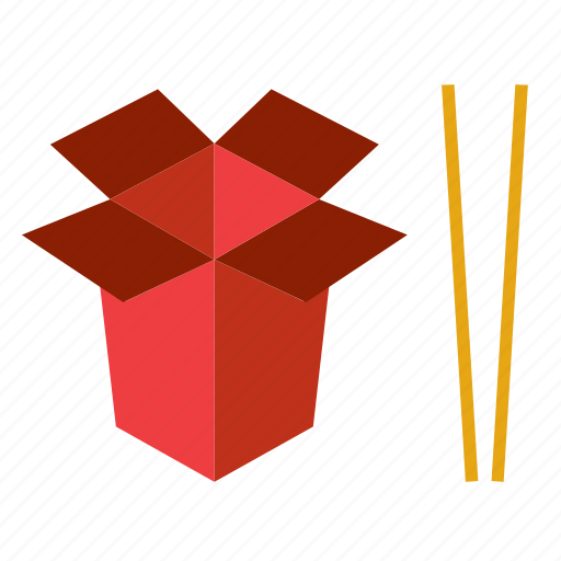 box, cardboard, chopsticks, food, noodle icon