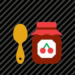 cherry, food, jam, pot, teaspoon icon