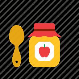 apple, food, jam, pot, teaspoon icon