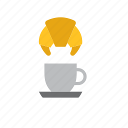 beverage, breakfast, coffee, croissant, cup, drink, food icon