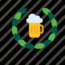 beer, beverage, drink, mug, stein, tankard, wreath