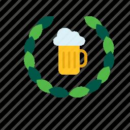 beer, beverage, drink, mug, stein, tankard, wreath icon