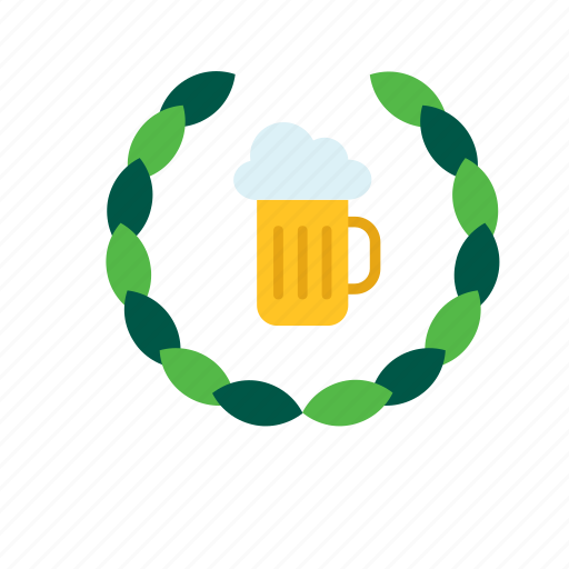 beer, beverage, drink, mug, stein, tankard, wreath icon