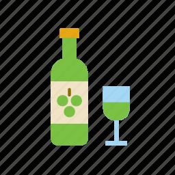 beverage, bottle, drink, white, wine icon