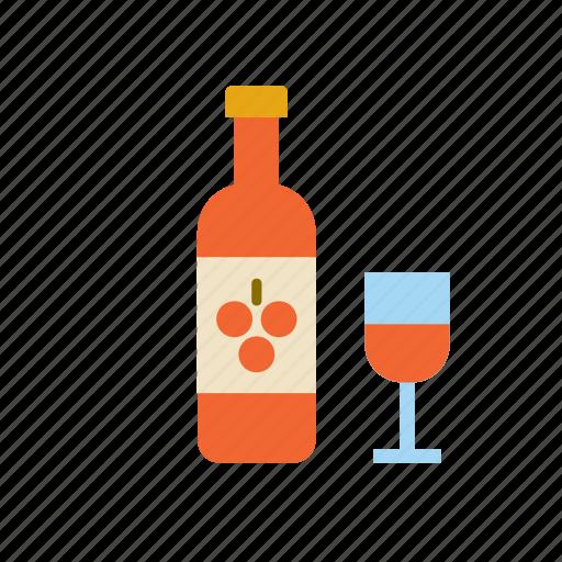 beverage, bottle, drink, rose, wine icon