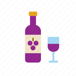 beverage, bottle, drink, glass, red, wine icon
