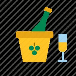 beverage, bottle, champagne, drink, glass icon