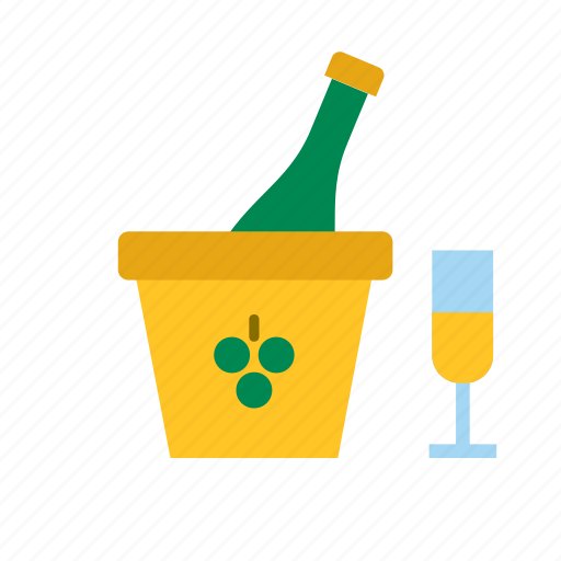 beverage, bottle, champagne, drink, glass icon