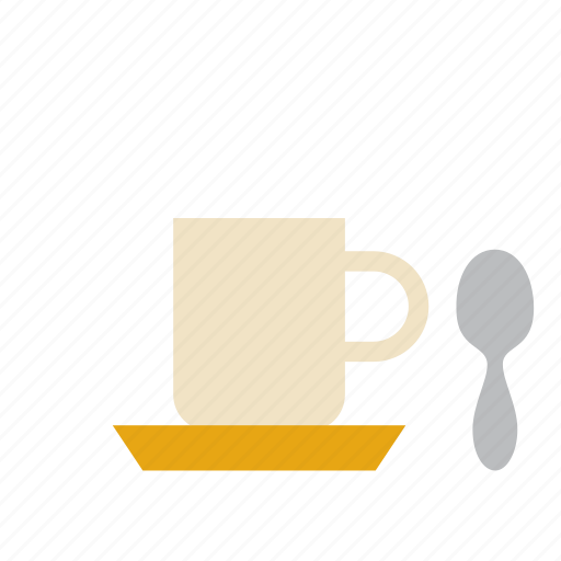 beverage, coffee, cup, drink, milk, teaspoon icon