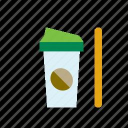 beverage, coffee, drink, latte, milk, mug, travel icon