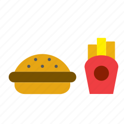 burguer, chips, fast, food, french fries, hamburguer, sandwich icon