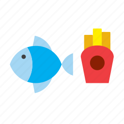 chips, fast, fish, food, french fries icon