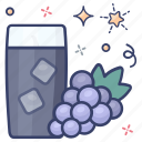chilled drink, juice, refreshing drink, soft drink, grapes juice icon