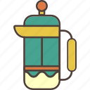 coffee, filter, frenchpress, kettle, pot, tea, travel icon