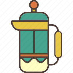 coffee, filter, frenchpress, kettle, pot, tea, travel icon