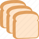 bread, food, pieces, sliced, slices, three, white icon