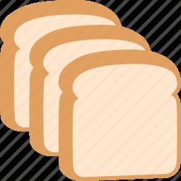 bread, food, pieces, sliced, slices, three, white icon
