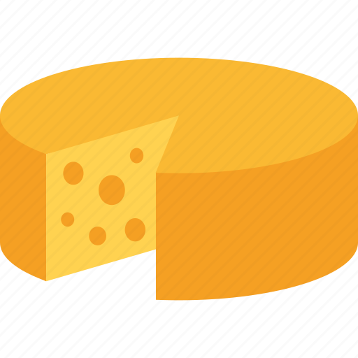 chedder, cheese, dairy, food, gouda, swiss, wheel icon