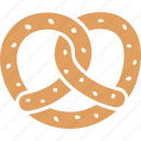 bread, knot, pretzel, pretzle, salt, soft, twisted icon