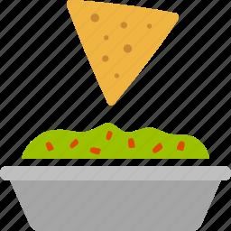 chip, chips, dip, guac, guacamole, nachos, tortilla icon