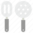 cooking tools, kitchen turner, kitchen utensils, slotted spatula, turning spatula icon
