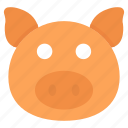animal, pet pig, pig, pig face, piglet icon
