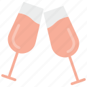 champagne glasses, cheers, party, toasting, wine glasses