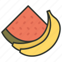 banana, food, fruits, watermelon, watermelon slice icon