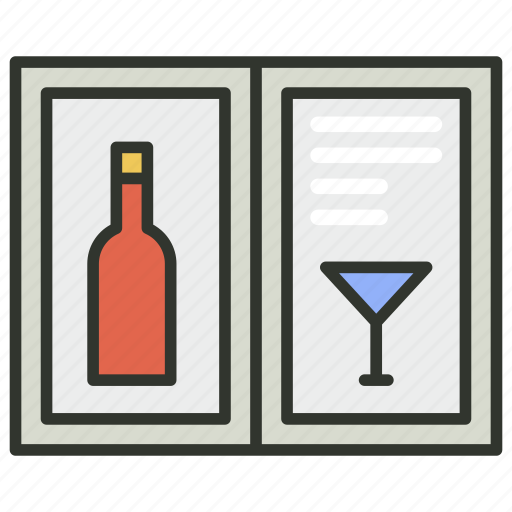 bar menu, drink menu, menu list, wine list, wine menu icon