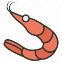 cooked prawn, crayfish, prawn, seafood, shrimp icon