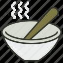 hot soup, meal, soup, soup bowl, spoons icon