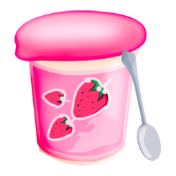 food, strawberries, yoghurt icon