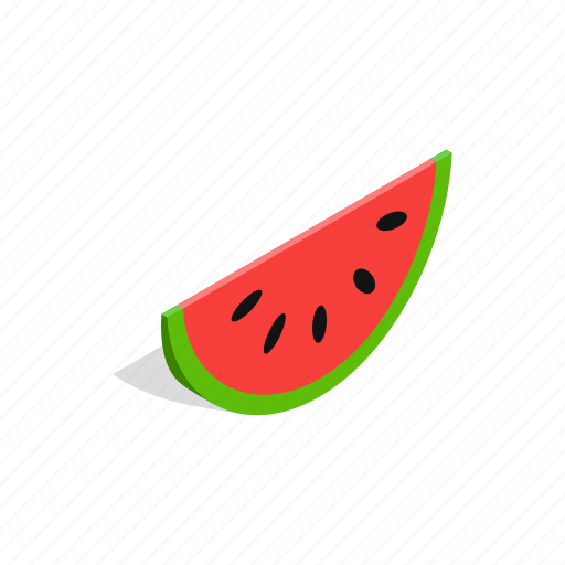food, fruit, green, isometric, summer, sweet, watermelon icon