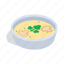 food, isometric, mushrooms, plate, puree, soup, vegetarian icon