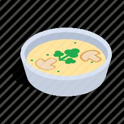 food, isometric, mushrooms, plate, puree, soup, vegetarian icon