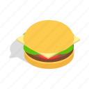 burger, fast, food, hamburger, isometric, meat, sandwich icon